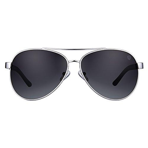 Tom Martin UV–400 Protected Sunglasses – Archer– Aviator Classic– Silver (Men– Smoke Black)
