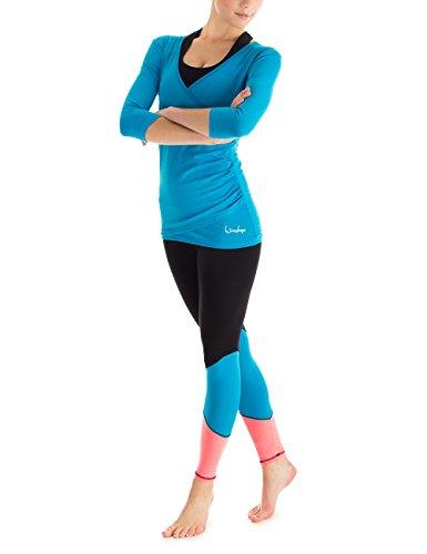 Leggings da donna Winshape Go for Your Colour Long tsunsw per il tempo libero Sport Yoga Workout, colore nero/lilla/Neon-Coral, L, WTL13 Multicolore - schwarz/Türkis/Neon-Coral