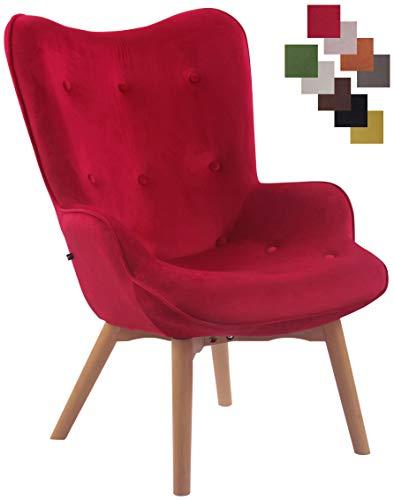 CLP Lounger Duke mit geknöpfter Polsterung und Stoffbezug I Loungesessel mit Armlehnen und Gestell aus Buchenholz Rot
