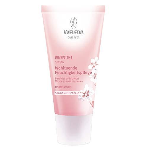 WELEDA Mandel Wohltuende Feuchtigkeitspflege, Naturkosmetik sanfte und unparfümierte Gesichtscreme für sensible Mischhaut im Gesicht und am Hals für einen gesunden Teint (1 x 30 ml) -