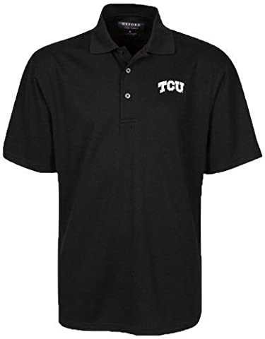 Oxford NCAA TCU Horned Frogs Men's Micro-Check Golf Polo, Black, Small by Oxford