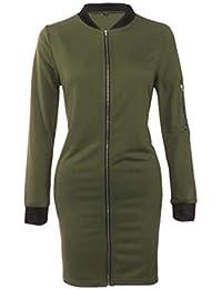 8b0aa2c30bc41 Pureed Mujer Abrigos Unicolor Invierno con Cremallera Parkas Stand Cuello Larga  Manga Joven Cómodo Chaqueta Jacket