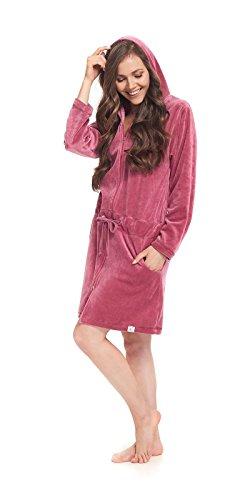 dn-nightwear Damen Bademantel / Morgenmantel / Saunamantel mit Kapuze mit hohem Baumwollanteil Blueberry
