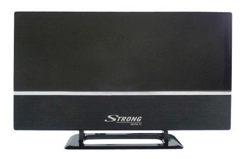 STRONG SRT ANT30 Zimmerantenne [DVB-T2, DVB-T, horizontaler und vertikaler Empfang durch universellen Antennenständer, externer 20 dB Verstärker mit LTE Filter 4G, HDTV, Full HD, HD] schwarz