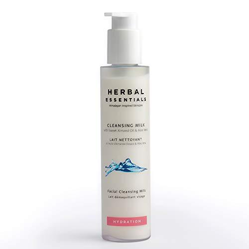 Herbal Essentials Reinigungsmilch mit süßem Mandelöl und Aloe Vera, seifenfreie Reinigungsmilch, natürlicher Reiniger zur sanften Revitalisierung der Haut, einschließlich Vitamin A und E 150 ml -
