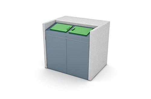 BEWA Mülltonnenschrank CITY, Außen-Verkleidung Müllbehälter für 1x1100 Liter Behälter, 162 x 135 x 160 cm Grün