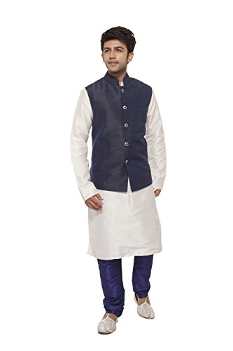 AMORA Designer Koti with Kurta & Churidhar Set_Navy Blue