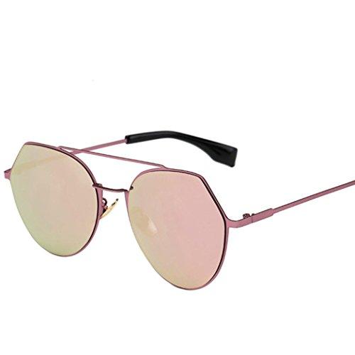 OverDose Unisex Sommer Frauen Männer Moderne Modische Spiegel Polarisierte Katzenauge Metallrahmen Sonnenbrille Brille Damensonnenbrille Herrensonnenbrille (Nerds Outfits)