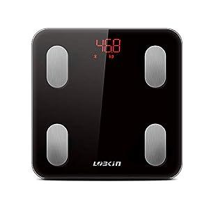 LOBKIN Báscula Bluetooth con análisis corporal: Peso, grasa corporal BMI, masa muscular, masa ósea, masa visceral, agua…