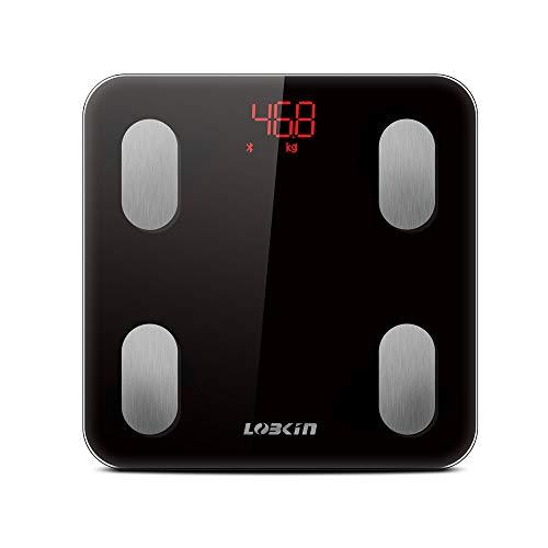 LOBKIN Báscula Bluetooth con análisis corporal: Peso, grasa corporal BMI, masa muscular, masa ósea, masa visceral, agua corporal, edad metabólica, válido para app iOS y Android