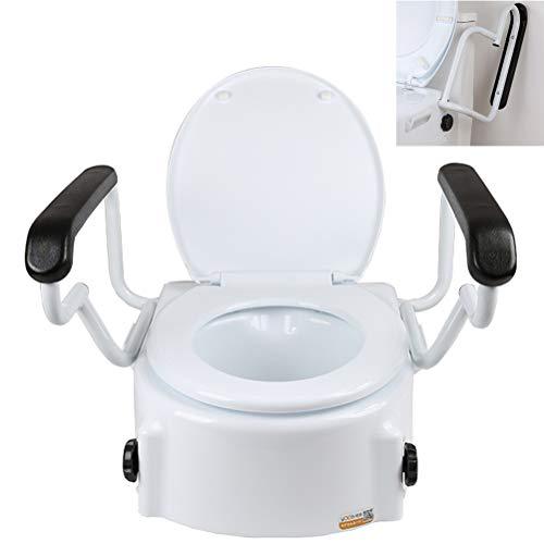WENTAO Toilettensitzerhöhung mit Clip-On, mit rutschfesten Armlehnen/für Taillen- und Beinstörung/PE Umweltfreundliches Material Statische Belastung 190kg (Weiß)