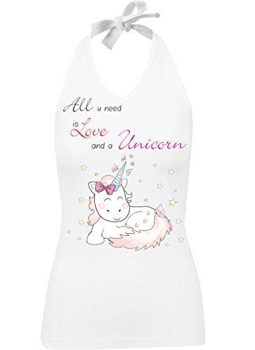 Ladies Damen Neckholder Top Sommertop Shirt Einhorn cutie All you need is Love and a Unicorn Weiß