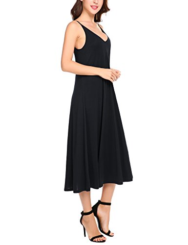 HOTOUCH Damen Trägerkleid Sommerkleid Casual Loose Swing Tunika Kleid Ärmellos Standkleid Partykleid Spaghettikleid A Linie Typ1-Schwarz