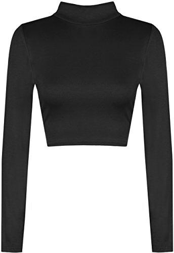 WearAll - Damen Rollkragen Cropped Langarm Schmucklos Kurz Elastisch Top - Schwarz - (Kim Kostüm Possible)