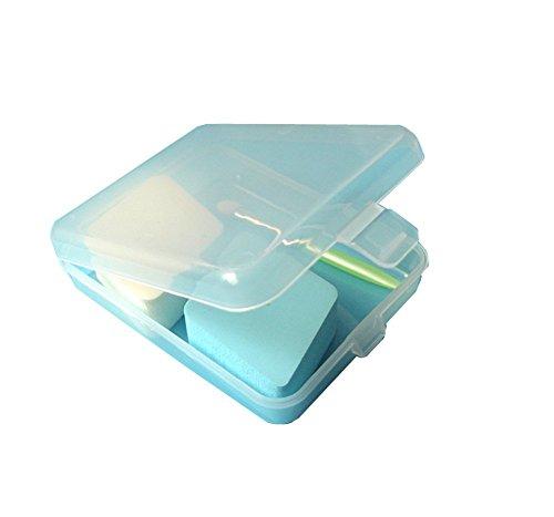 6pezzi a forma di quadrato in plastica Storage Box contenitore di raccolta con coperchio trasparente