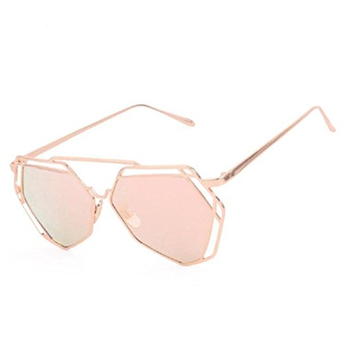 Bluester Twin-Beams Geometry Design Women Metal Frame Mirror Sunglasses Cat Eye Glasses (Rose Gold)