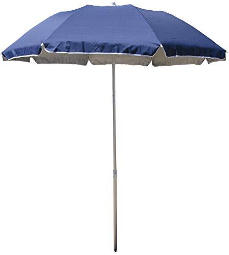 Sonnenschirm, faltbar, kompakt, Marineblau Durchmesser 180 cm nach Krümmung Nylon mit UV-Schutz UPF50+. Länge zusammengeklappt in Seiner Tasche: 70 cm. Ideal für Camping, Strand, Wandern.