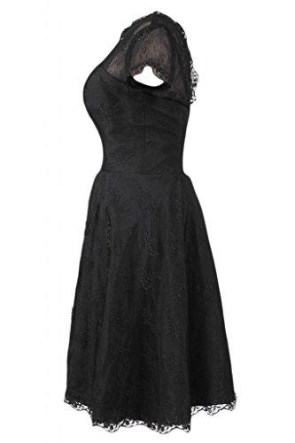 Sunvary elegante con maniche corte, Pantaloni A-line Homecoming Party Dresses Nero