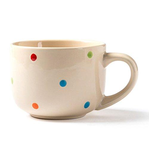GZZ Kreative bauchige Suppentasse, keramische Tasse, Kaffeetasse Frühstückstasse, Persönlichkeit Getreide Tasse Milch Tasse,Beige,Suppentasse
