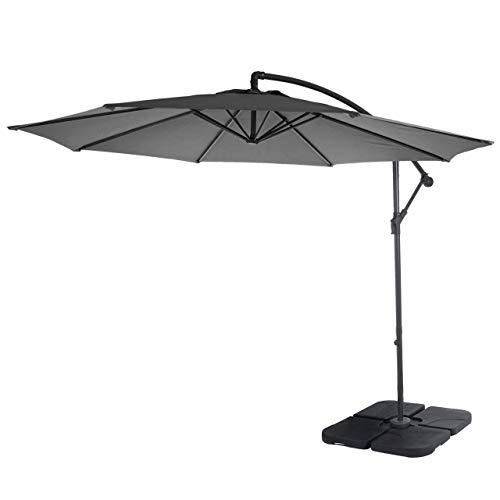 Mendler Ampelschirm Acerra, Sonnenschirm Sonnenschutz, Ø 3m neigbar, Polyester/Stahl 11kg ~ grau mit Ständer