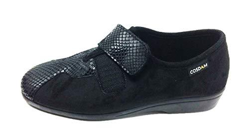 Zapatilla de Calle/Mujer/Cosdam/Material Bamara/Ancho Especial/Negro/Cuña 3 cm/Cierre fácil/Talla...
