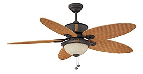 Litex E-EH52NON5C1S Earhart Collection 52-Inch Indoor/Outdoor Ceiling Fan with Five Bamboo ABS Blades and Single Light Kit with Scavo Glass by Litex