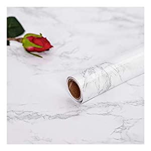 Hode Marmor Folie 45 cm × 200 cm Kontakt Papier PVC Material Selbstklebende Vinyl Film Aufkleber DIY Selbstklebende Klebefolie Tapete für Möbel Selbstklebefolie Marmor Tapete Klebefolie Marmor Weiß