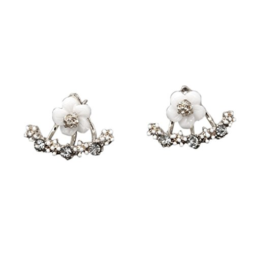 QHGstoreI monili di cristallo di modo Piccolo fiore della margherita Orecchini per le donne argento