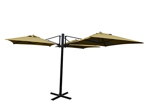 Madison Gastronomie Gartenschirm 'Murano III' mit drei separat verstellbaren Schirmen in natur - ecru, UV-Schutz 40 Plus