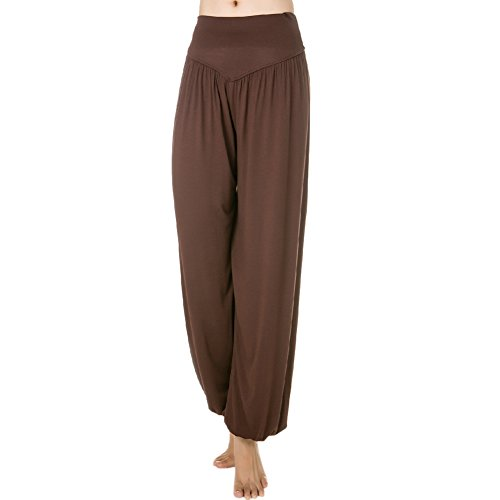 Femme Pantalons de Sport Yoga Souple 95% Modal Danse type Bloomer pants Café