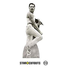 Star Cutouts CS850 Figura de cartón de tamaño real de Freddie Mercury 1985 Live Aid con soporte de escritorio gratuito Standee perfecto para fans, fiestas, coleccionistas y eventos, multicolor