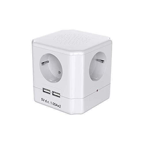 Oferta de Garza Power - Base múltiple Cubo de 4 tomas Schuko con Interruptor + 2 Conexiones USB, cable 1.5mm x 1.5 metros, color Blanco