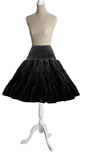 SF World - Sottogonna retrò in stile anni '50, 66 cm nero