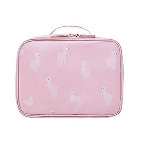 Ruikey Trousse Maquillage de Voyage Portable,Trousse de Toilette Flamingo,Étanche Multi-compartiments Cosmétique Sac pour Femme Filles