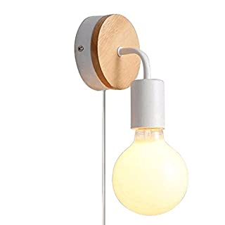 Fsliving Loft Vintage Wooden Base Metal Wall Lights ce Listed Lamp Minimalist American Country Indoor E27 Led Wall Sconces for Living Room Bedrooms Bedside 1-Light Plug-in (White) Bulb not Included