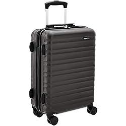 AmazonBasics Bagage à roulettes rigide- 55 x 40 x 20 cm Taille cabine, Noir Approuvé pour Ryanair et la plupart des compagnies low cost