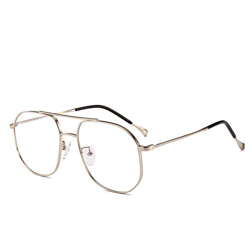 Yangjing-hl Fashion Aviator-Stil Polygonbrille Rahmen kann mit Anti-Blau-Rahmen Trend großen Rahmen Double Beam Brille Silber ausgestattet Werden