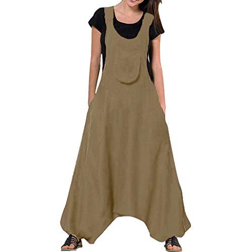 Ansenesna Leinen Latzhose Damen Mit Taschen Lang Elegant Sommer Overall Frauen Locker Einfarbig Jumpsuit (Plus Size Kleidung Billig)