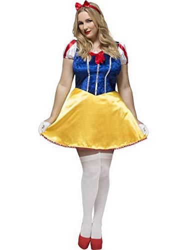 Halloweenia - Damen Frauen Curvy Märchen Prinzessinen Kostüm, Kleid mit Kopfschmuck, perfekt für Karneval, Fasching und Fastnacht, 3XL, Blau