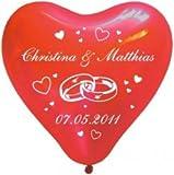 50 Herzballons Hochzeit Namen + Datum einseitig Herz (Heliumgeeignet)