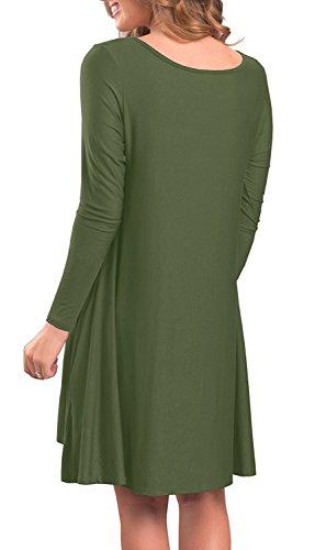 POSESHE Frauen Langarm Casual Loose T-Shirt Kleid 1Armeegrün