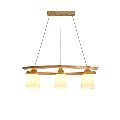 Kronleuchter aus Holz mit Glasschirm, Hängeleuchte Moderne Esszimmer Lampen, Pendelleuchte Dekoration Beleuchtung Licht, für Esstisch Küche Arbeitszimmer, E27 3 Flammig, Küchenlampe Esszimmerleuchte - 3-licht-moderne Pendelleuchte