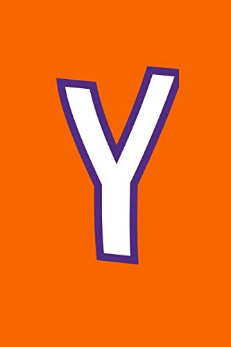Y: Monogram Journal Composition Notebook or Diary. Orange with White/Purple Alphabet Letter - 6