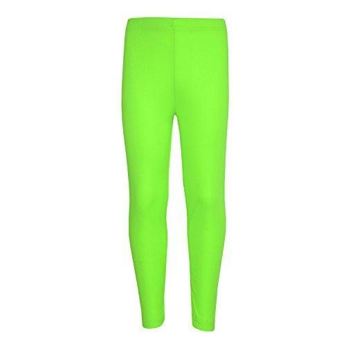Mädchen Leggings Kinder Uni Farbe Schule Mode Tanz Leggings New 5 6 7 8 Jahre 9 10 11 12 13 Jahre - Synthetisch, Neongrün, 100% polyester 100% polyester, Mädchen, EU 134-140