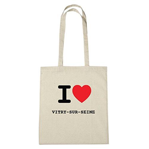 JOllify Vitry di Triel-sur-Seine Borsa di cotone b3385 schwarz: New York, London, Paris, Tokyo natur: I love - Ich liebe