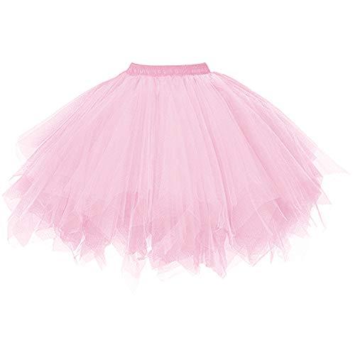 DresseverBrand Damen Petticoat 50er Rockabilly Jahre Retro Tutu Ballet Tüllrock Cosplay Crinoline Rosa - Rosa 50er Jahre Kleid Kostüm