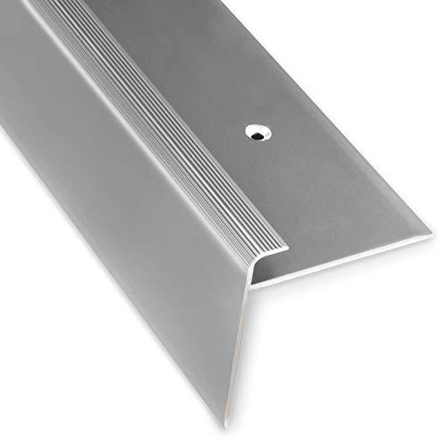 Treppenkantenprofil Safety | silber | F-Form | 53mm Höhe mit einer Einfasshöhe von 7-8mm | Erhältlich in 4 Farben und 3 Längen (100cm)