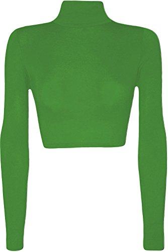 Top da donna corto elasticizzato a maniche lunghe, con collo alto, taglia: 36-42 Green