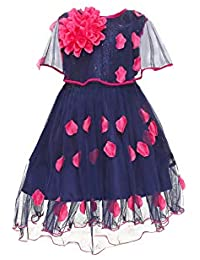 YAYAVAR Girls Net Made Navy Blue Colored Frock for Girls - Set of 01 from 02-08 Years