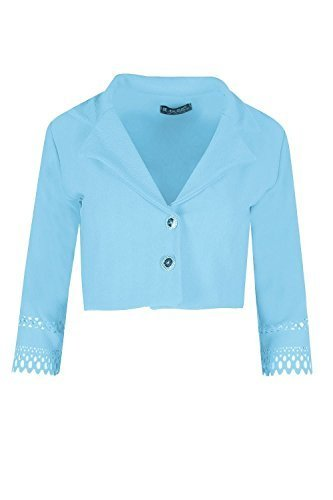 Oops Outlet Damen Krepp Laser Cut Ärmelig Strickjacke Damen Kragen Knöpfe Ausschnitt Mantel Blazer - Himmelblau, Plus Size (UK - Star Blazer Kostüm